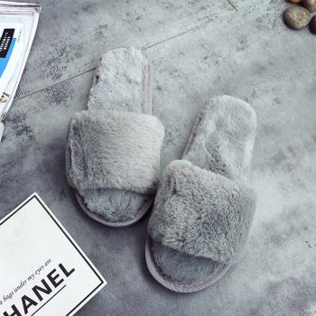 European Style Lady Slippers Warm Plush Autumn And Winter Indoor Home Cotton Slippers - OYSTER 39