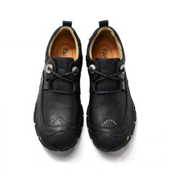Outdoor Shoes Men'S Leisure Shoes Leather Shoes Wide Head Men'S Shoes - BLACK 39