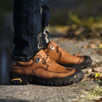 Outdoor Shoes Men'S Leisure Shoes Leather Shoes Wide Head Men'S Shoes - BROWN 39