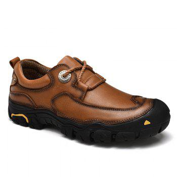 Outdoor Shoes Men'S Leisure Shoes Leather Shoes Wide Head Men'S Shoes - BROWN 40