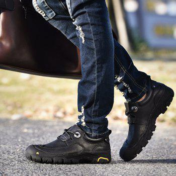 Outdoor Shoes Men'S Leisure Shoes Leather Shoes Wide Head Men'S Shoes - BLACK 46