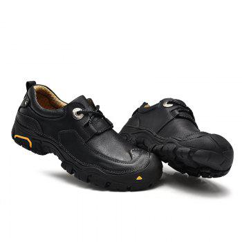 Outdoor Shoes Men'S Leisure Shoes Leather Shoes Wide Head Men'S Shoes - BLACK 43