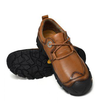 Outdoor Shoes Men'S Leisure Shoes Leather Shoes Wide Head Men'S Shoes - BROWN 44