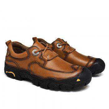Outdoor Shoes Men'S Leisure Shoes Leather Shoes Wide Head Men'S Shoes - BROWN 41