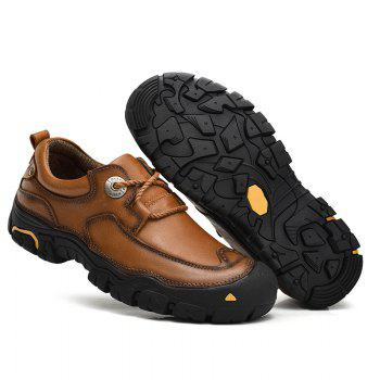 Outdoor Shoes Men'S Leisure Shoes Leather Shoes Wide Head Men'S Shoes - BROWN 38