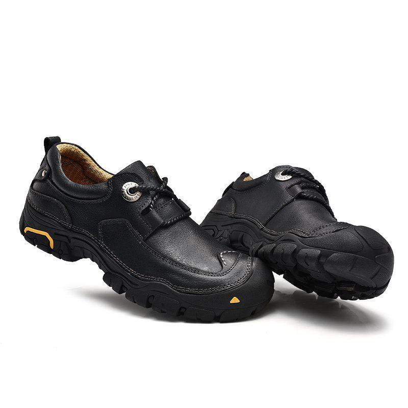 Outdoor Shoes Men'S Leisure Shoes Leather Shoes Wide Head Men'S Shoes - BLACK 42