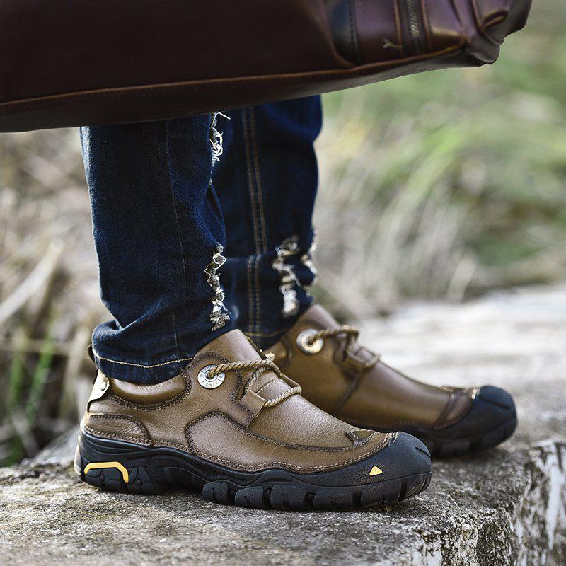 Outdoor Shoes Men'S Leisure Shoes Leather Shoes Wide Head Men'S Shoes - KHAKI 43