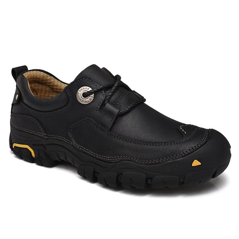 Outdoor Shoes Men'S Leisure Shoes Leather Shoes Wide Head Men'S Shoes - BLACK 40