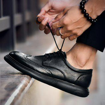 Black Leather Shoes Men'S Bullock Carved Leather Shoes Leather Men'S Shoes Business Leather Shoes - BLACK BLACK