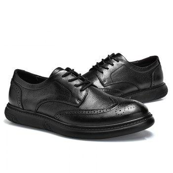 Black Leather Shoes Men'S Bullock Carved Leather Shoes Leather Men'S Shoes Business Leather Shoes - BLACK 38