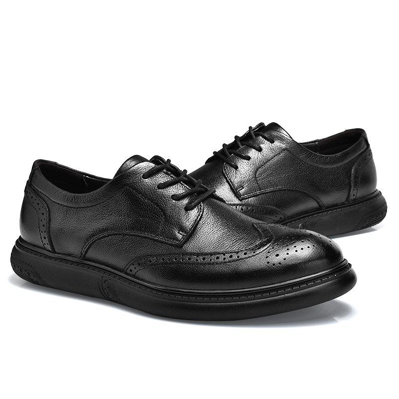 Black Leather Shoes Men'S Bullock Carved Leather Shoes Leather Men'S Shoes Business Leather Shoes - BLACK 40