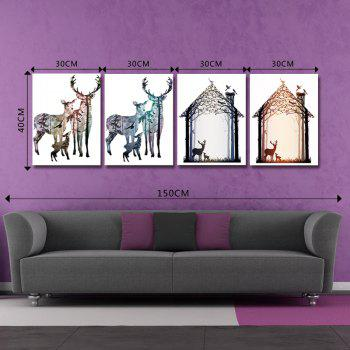 DYC 10145 4PCS Deer Print Art Ready to Hang Paintings -  COLORMIX