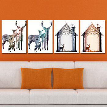 DYC 10145 4PCS Deer Print Art Ready to Hang Paintings - COLORMIX COLORMIX