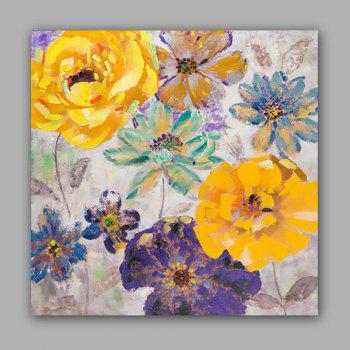 Happy Art Handed Top Grade Canvas Flower Oil Painting Wall - COLORMIX 24 X 24 INCH (60CM X 60CM)