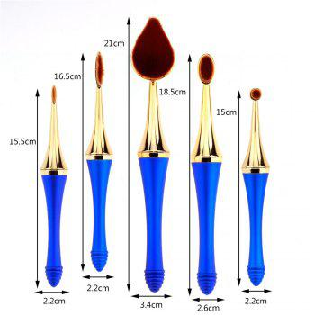 GANJOY-Five Pack Toothbrush Cosmetic Brush New High-End Touch Paint - BLUE/GOLDEN