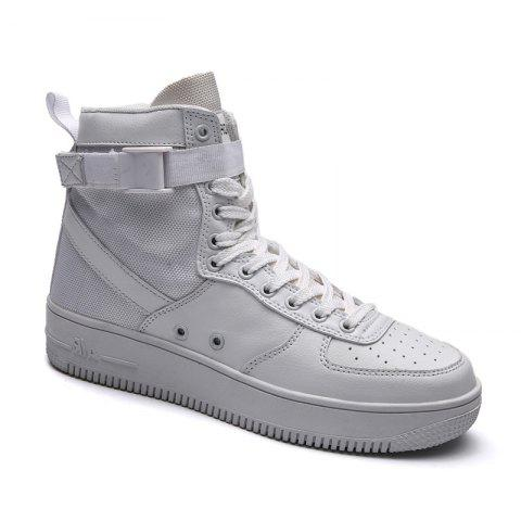 2017 Men'S High Shoes Casual Sports Shoes Casual Shoes  Canvas Shoes - WHITE 39