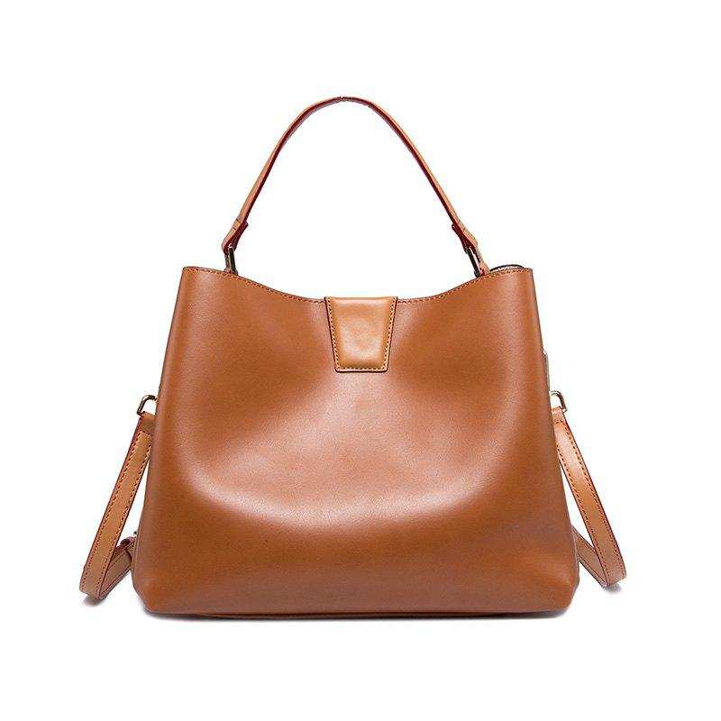 2017 European Fashion Beautiful All-Match Satchel Bag Portable High-Capacity Leisure Cluster Leather Female Bag - BROWN VERTICAL