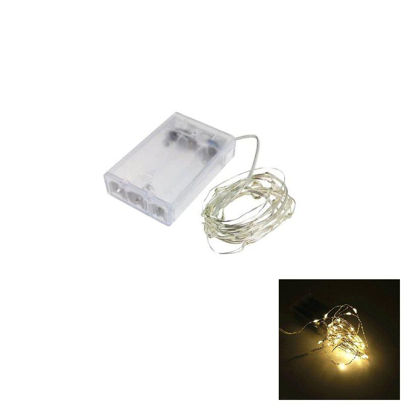 2018 2M 20-LED Silver Wire Strip Light Battery Operated Fairy ...