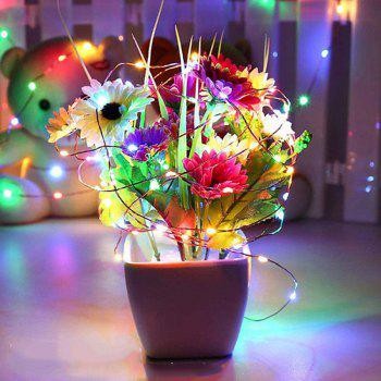 10M 100-LED Silver Wire Strip Light Battery Operated Fairy Lights Garlands Christmas Holiday Wedding Party 1PC - COLORFUL