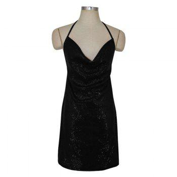 Sexy Ladies Sequined Dress Strapless Backless Dress Christmas Club Side Slit - BLACK BLACK