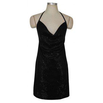 Sexy Ladies Sequined Dress Strapless Backless Dress Christmas Club Side Slit - BLACK M