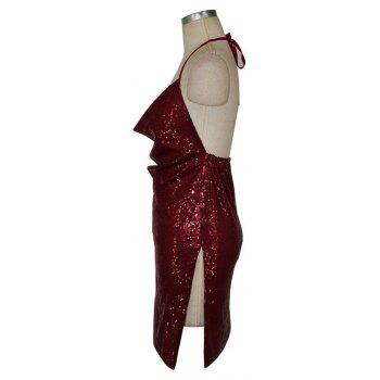 Sexy Ladies Sequined Dress Strapless Backless Dress Christmas Club Side Slit - WINE RED L