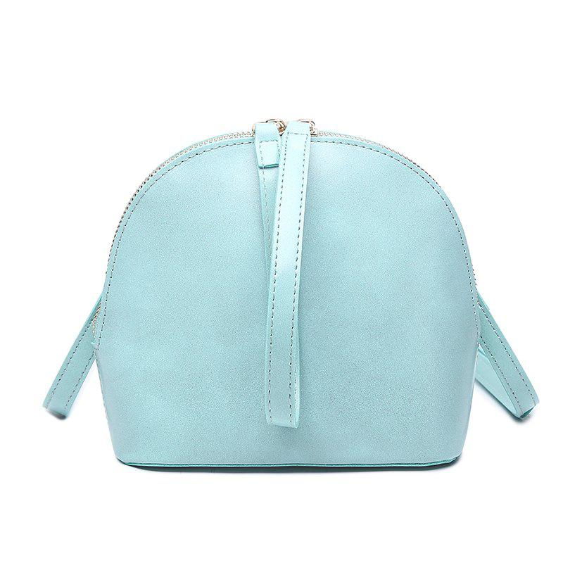2017 New Fashion Ladies Fashion and The Wind Shell Type Single Shoulder Bag All-Match Simple Pu Satchel - CORNFLOWER HORIZONTAL