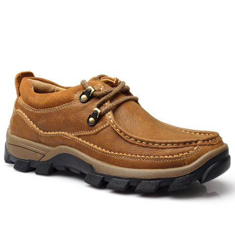 Men Casual Outdoor Genuine Leather Thick Sole Single Shoes - KHAKI 44