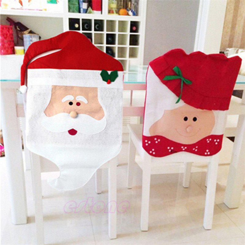 2PCS Santa Claus Chair Covers for Christmas Table Decorations - RED