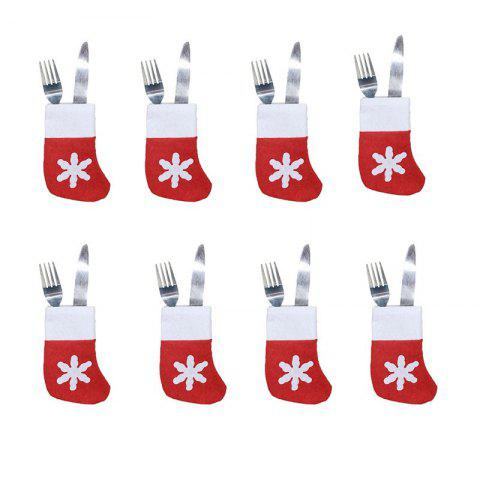 8pcs  Christmas Socks Knife and Fork Storage Bag Decoration - RED