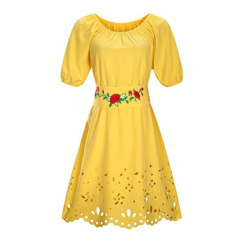 2018 Round Collar Embroidery Belt Plus Size Dress Yellow Xl In