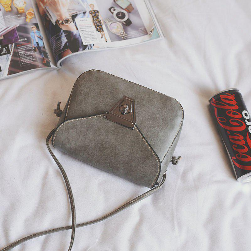 Women Handbags Simple Fashion PU Leather Cross Body Bag - GRAY