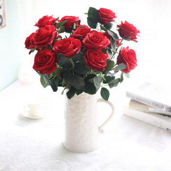 XM European Style Hemming Rose Home Decoration Wedding Artificial Flower 45CM 10 Count - RED