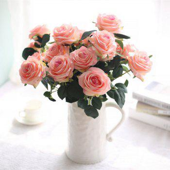 XM European Style Hemming Rose Home Decoration Wedding Artificial Flower 45CM 10 Count -  LIGHT PINK