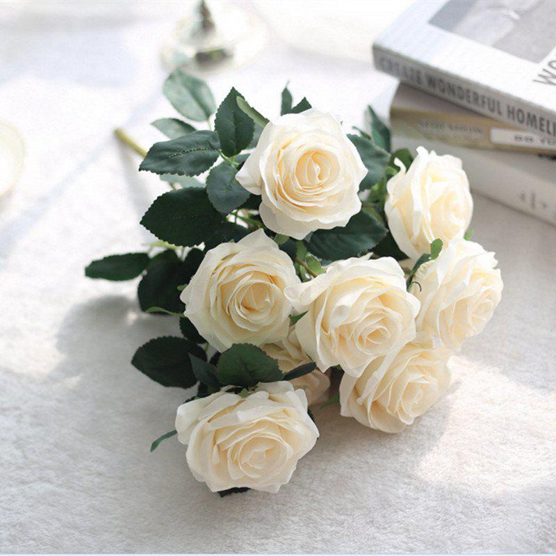 XM European Style Hemming Rose Home Decoration Wedding Artificial Flower 45CM 10 Count - OFF WHITE
