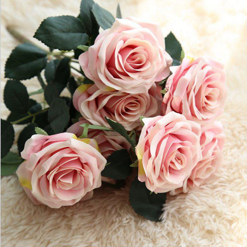 XM European Style Hemming Rose Home Decoration Wedding Artificial Flower 45CM 10 Count - DEEP PINK