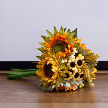 5 Count Artificial Dried Flower Sunflower Bouquet Home Decoration 25CM - YELLOW YELLOW