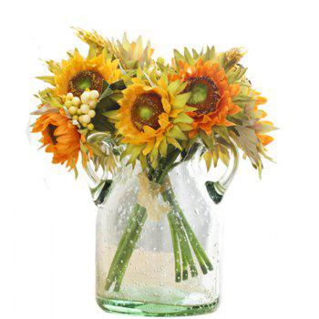 5 Count Artificial Dried Flower Sunflower Bouquet Home Decoration 25CM -  YELLOW