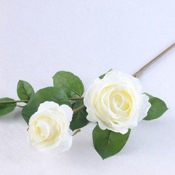 3 Head Silk Rose Home Decoration Artificial Flower 65CM -  WHITE