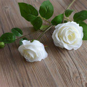 3 Head Silk Rose Home Decoration Artificial Flower 65CM - WHITE WHITE