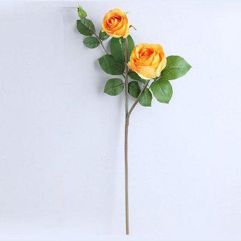 3 Head Silk Rose Home Decoration Artificial Flower 65CM -  YELLOW