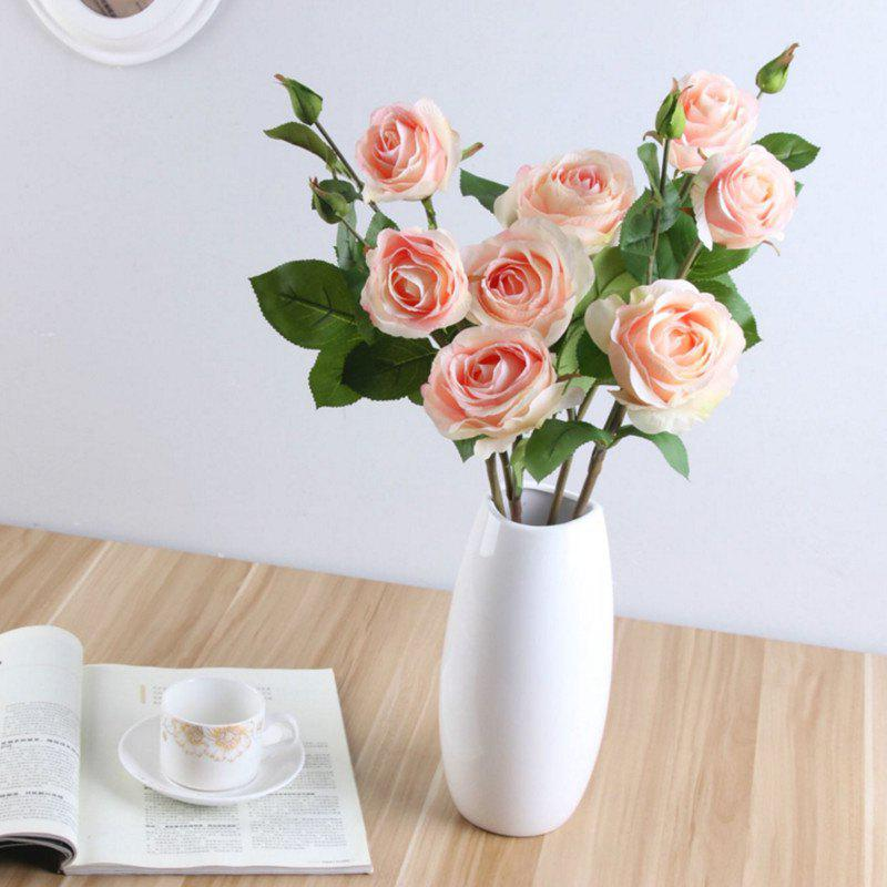 3 Head Silk Rose Home Decoration Artificial Flower 65CM - LIGHT PINK