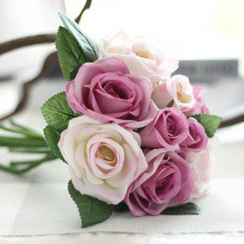 XM 9 Count Silk Rose Hand Tied Bouquet Home Decoration Artificial Flower 25CM -  WHITE / PURPLE