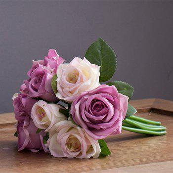 XM 9 Count Silk Rose Hand Tied Bouquet Home Decoration Artificial Flower 25CM - WHITE + PURPLE WHITE / PURPLE