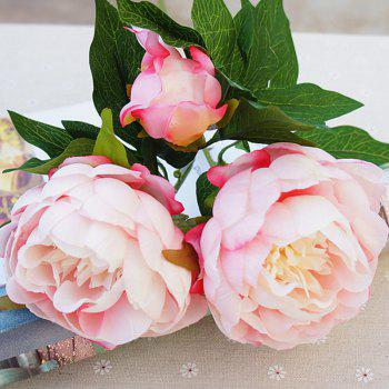3 Heads European Style Peony Home Decoration Artificial Flower 50CM - PINK PINK