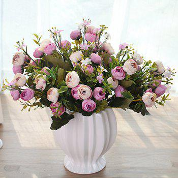 XM 10 Heads Silk Tea Rose Home Decoration Artificial Flower 30CM - LIGHT PURPLE