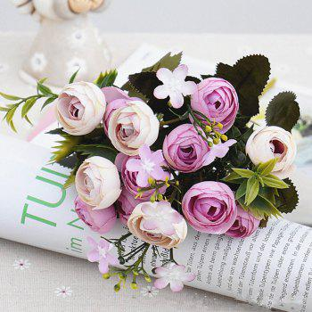 XM 10 Heads Silk Tea Rose Home Decoration Artificial Flower 30CM - LIGHT PURPLE LIGHT PURPLE