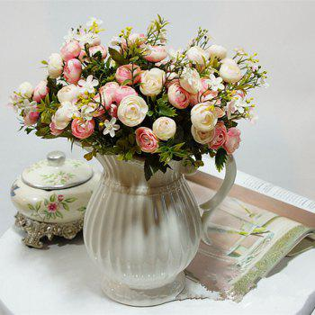XM 10 Heads Silk Tea Rose Home Decoration Artificial Flower 30CM - LIGHT PINK