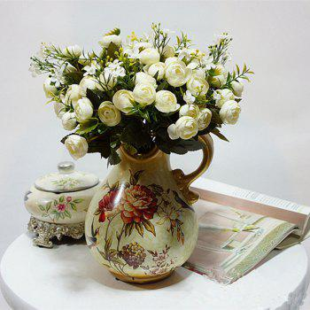 XM 10 Heads Silk Tea Rose Home Decoration Artificial Flower 30CM - WHITE