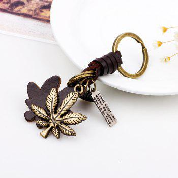 Alloy Maple Leather Hand Woven Key Chain - COPPER